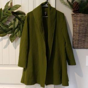 Eileen Fisher Green Shawl Collar Open Swing Coat
